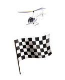 Illustration of Racing flag and helicopter. Isolated on white background Stock Image