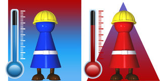 Illustration of radiant heat. Worker icons in cold and warmth with radiant heat and thermostats Stock Images