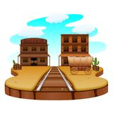 Railroad in the western town. Illustration of Railroad in the western town Stock Images