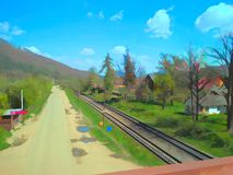 Railroad in Yaremce. Illustration of the railroad in Yaremche at sunny spring day Royalty Free Stock Images