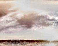Illustration of rain clouds at sunset, the sky before a thunderstorm, the sky before a hurricane, in a beautiful sea landscape. stock illustration