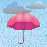 Illustration of rain and umbrella Stock Images