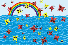 Illustration of rainbow and butterflies. Abstract illustration of rainbow, butterflies, ocean stock illustration