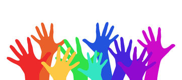 Illustration with rainbow children's hands. For your creativity Royalty Free Stock Images