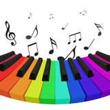 Illustration of rainbow colored piano keys with musical notes. Royalty Free Stock Photography