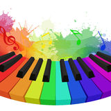 Illustration of rainbow colored piano keys, musical notes. And watercolor splashes. Vector element for your design vector illustration