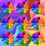 Illustration of   rainbow flowers Royalty Free Stock Images