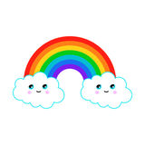 Illustration of a rainbow with fun clouds. Illustration of a rainbow with clouds Royalty Free Stock Image