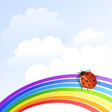 Illustration with rainbow and ladybug Royalty Free Stock Images