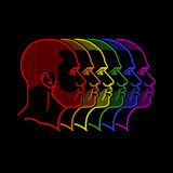 Illustration with rainbow male faces Royalty Free Stock Photography