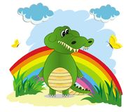 Illustration of a rainbow in the sky with a green cartoon crocod stock illustration
