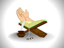 Illustration for ramadan kareem. Abstarct grey background with holy book, human hand royalty free illustration