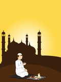 Illustration for ramadan kareem. Sunset background with man praying Stock Illustration