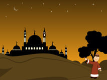 Illustration for ramadan kareem. Scenery for eid mubarak celebration Stock Illustration