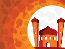 Illustration for ramadan kareem. Abstract orange background with mosque Stock Photography