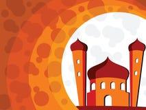 Illustration for ramadan kareem. Abstract orange background with mosque Royalty Free Illustration