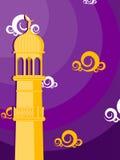 Illustration for ramadan kareem. Abstract purple background with mosque' pillar Stock Illustration