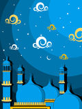 Illustration for ramadan kareem. Abstract twinkle star, artwork background with mosque Royalty Free Stock Photos