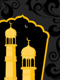Illustration for ramadan kareem. Black floral pattern background with yellow mosque vector illustration