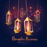 Illustration Ramadan Kareem Background with 3d Lamps Fanoos ,. Illustration Ramadan Kareem Background with Lamps stock illustration