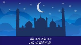 Ramadan kareem illustration vector with night scene vector illustration
