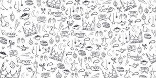 Illustration of Ramadan Kareem with hand draw doodle background for the celebration of Muslim community festival. stock illustration