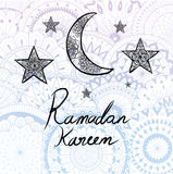 Illustration of Ramadan kareem hand drawn calligraphy with beautiful mandala circles background for traditional card . Royalty Free Stock Images