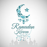 Illustration of Ramadan Kareem. With intricate Arabic lamp for the celebration of Muslim community festival. Free hand write with a modern lantern and stars royalty free illustration