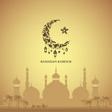Illustration of Ramadan Kareem. With month, a mosque and a caravan of camels for the celebration of Muslim community festival. Free hand write with a modern royalty free illustration