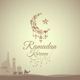 Illustration of Ramadan Kareem. With month, a mosque and a caravan of camels for the celebration of Muslim community festival. Free hand write with a modern stock illustration