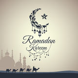 Illustration of Ramadan Kareem. With month, a mosque and a caravan of camels for the celebration of Muslim community festival. Free hand write with a modern Royalty Free Stock Photo