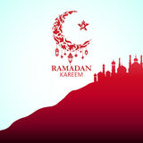 Illustration of Ramadan Kareem. With Mosque on the hill for the celebration of Muslim community festival. Free hand write with a modern lantern and stars vector illustration