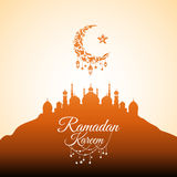 Illustration of Ramadan Kareem. With Mosque on the hill for the celebration of Muslim community festival. Free hand write with a modern lantern and stars stock illustration
