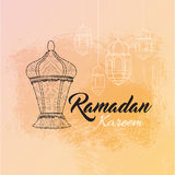 Illustration of Ramadan kareem and Ramadane mubarak with lantern. Traditional greeting card wishes holy month Stock Images