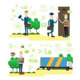 Illustration rapide de vecteur de concept de la livraison dans le style plat Images stock