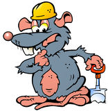 Illustration of an Rat holding a Spade Stock Image