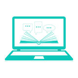 Illustration. Reading e-books. Online learning. Open book paper with speech clouds on the laptop. Flat design. Stock Photos