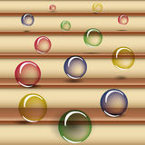 Translucent colored balls falling down the stairs Stock Photos