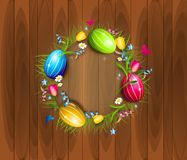 Easter eggs circle background. Illustration of realistic easter eggs in circle of grass Royalty Free Stock Images