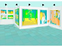 Realistic painting in museum of fine art background royalty free illustration