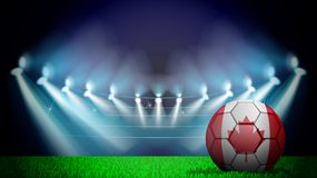 illustration of realistic soccer ball painted in the national flag of Canada on lighted stadium. Vector can be used in advertising royalty free illustration