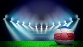 Illustration of realistic soccer ball painted in the national flag of Costa-Rico on lighted stadium. Vector can be used in. Advertising national championship royalty free illustration
