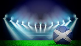 Illustration of realistic soccer ball painted in the national flag of Scotland on lighted stadium. Vector can be used in. Advertising national championship vector illustration