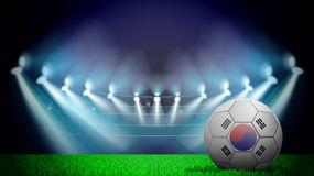 Illustration of realistic soccer ball painted in the national flag of South Korea on lighted stadium. Vector can be used in. Advertising national championship stock illustration