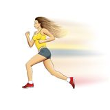 Illustration of a realistic sports running girl on white. Illustration of a realistic sports fast running girl with waving hair on white Stock Photos