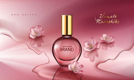 Illustration of a realistic style perfume in a glass bottle on a pink background with sakura flowers Stock Image
