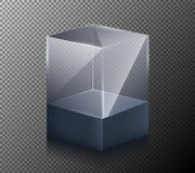 Illustration of a realistic, transparent, glass cube isolated on a gray background. 3-D design Stock Photos