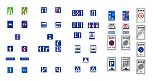 Illustration of rectangle blue road signs Stock Images