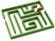 Red arrow and maze Stock Photos