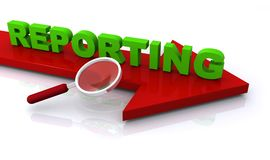 Reporting concept. An illustration of a red arrow with the text 'reporting' on top Stock Photo